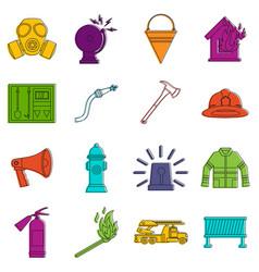 Fireman tools icons doodle set vector
