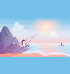 fishermen on rocks near sea or lake beach fishing vector image