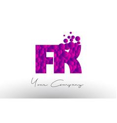 fk f k dots letter logo with purple bubbles vector image