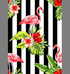 flamingo and hibiscus tropical pattern striped vector image