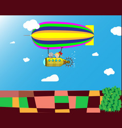 Flight of the airship in the sky above the fields vector
