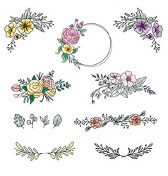 Floral design elements and wedding event bouquet vector