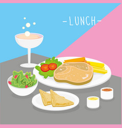 food meal lunch dairy eat drink menu vector image