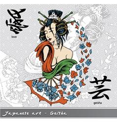 Geisha with kanji vector