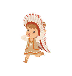 Girl wearing native indian costume and headdress vector