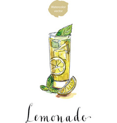 glass of lemonade or lemon juice with ice cubes vector image