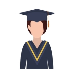Half body woman with graduation outfit vector