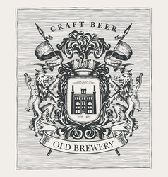 hand-drawn medieval coat arms for old brewery vector image