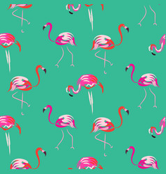 Hand drawn pink flamingo bird mint seamless vector