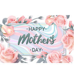 happy mothers day lettering on marble plate vector image vector image