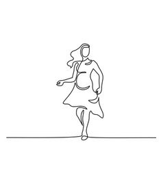 Happy pregnant woman walking silhouette picture vector