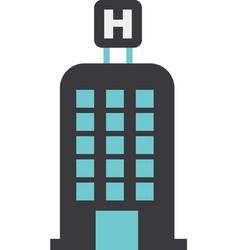 Hotel building h icon vector
