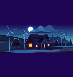 house with solar panels and wind turbines at night vector image