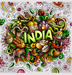 india hand drawn cartoon doodles vector image