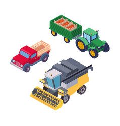 isometric agricultural machinery for field work vector image