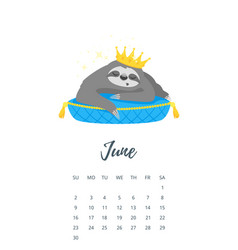 June 2019 year calendar page vector