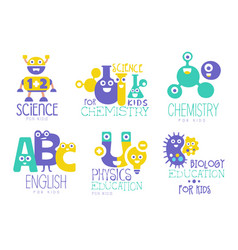Kids education and learning logo set chemistry vector