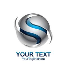 letter s logo design template colored silver blue vector image