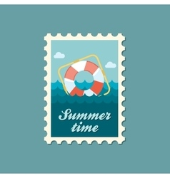 Lifebuoy flat stamp summertime vector