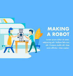 making robots for kids flat banner template vector image