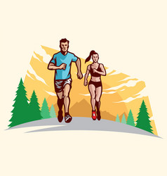 Man and women running vector