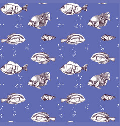 marine life seamless pattern sea fish vector image