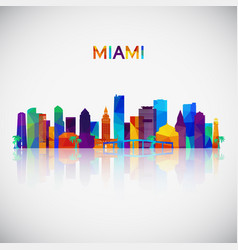 Miami skyline silhouette in colorful geometric vector