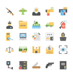 military and weapons flat icons set vector image