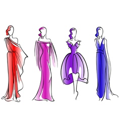 Modern fashion models of beautiful dresses vector image