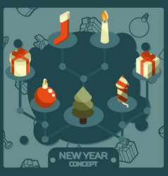 new year color concept isometric icons vector image