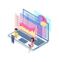 online business and digital marketing laptop vector image