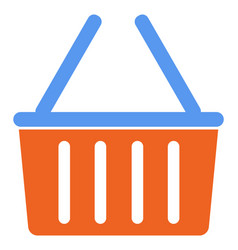 orange grocery basket with blue handles vector image