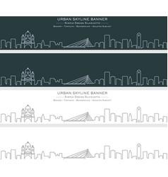 podgorica single line skyline banner vector image