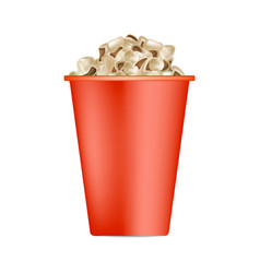 popcorn red box mockup realistic style vector image