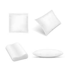 realistic pillows set on white background vector image