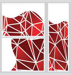 Red polygonal banners vector