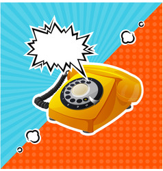retro yellow phone in comic style with vector image