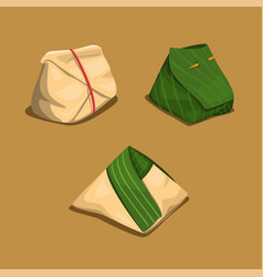 rice wrap in banana leaf and paper asian food vector image