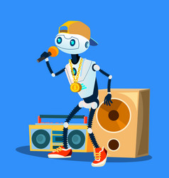 Robot rapper in cap glasses and pendant on chest vector