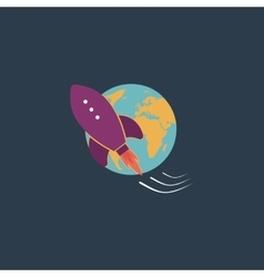 rocket go to deep space vector image