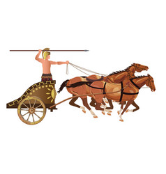 Roman warrior on an ancient war chariot drawn vector