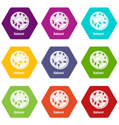 salami icons set 9 vector image