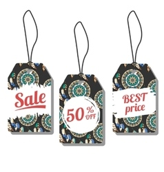 Sale tags with freehand ink vector image