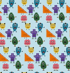 Seamless Pattern with Simply Monsters Background vector image