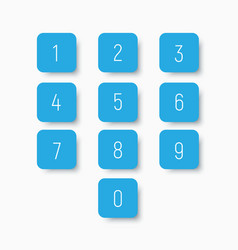 set blue buttons with numbers from 0 to 9 vector image
