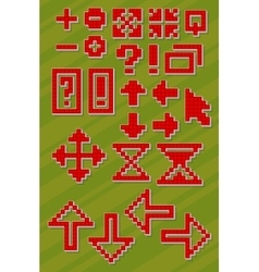Set of different red pixel font symbols vector image