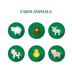 Set of flat design isolated icons with farm vector image