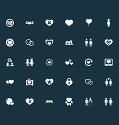 Set of simple valentine icons vector