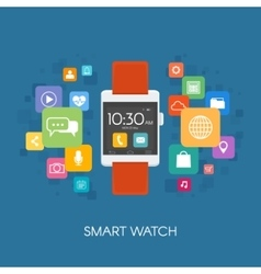 Smart watch with application icons vector image