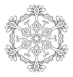 snow flake in zentangle style mandala for adult vector image vector image
